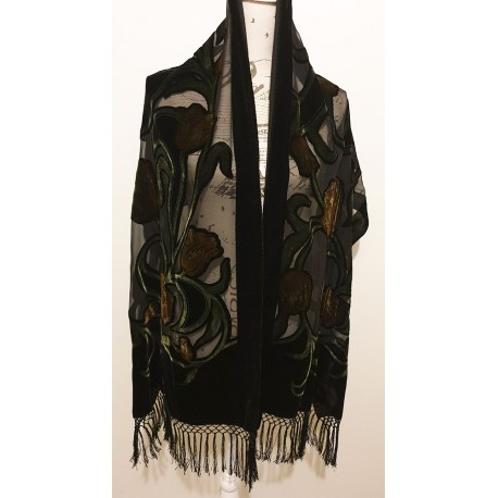 Silk and velvet black embroidered wrap
