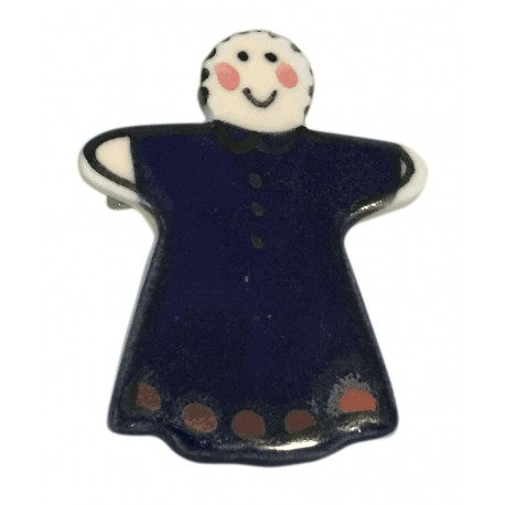 Handmade ceramic person brooch