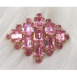 Geometric pink crystal brooch